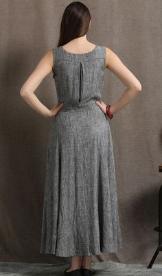 Gray Linen Maxi Dress Summer Sleeveless Grey Marl от YL1dress