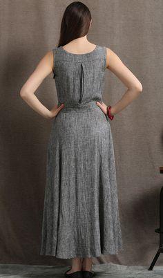 Gray Linen Maxi Dress Summer Sleeveless Grey Marl by YL1dress