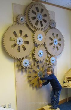 of gears Coolest playroom ever? Cnc Projects, Projects To Try, Gadgets And Gizmos Vbs, Maker Fun Factory Vbs, Kids Church, Wood Toys, Art Lessons, Kids Playing, Playroom