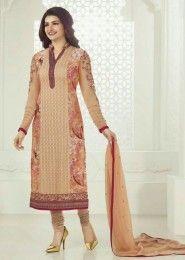 Casual Wear  Georgette Beige Embroidered Work Churidar Suit