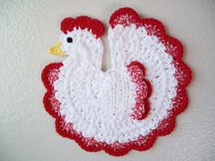 Chicken Rooster Potholder Red Country Farm by littledarlynns