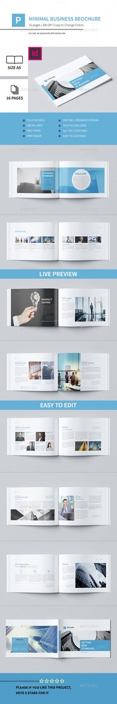 Minimal Business Brochure Template InDesign INDD #design Download: http://graphicriver.net/item/minimal-business-brochure-v/13390496?ref=ksioks