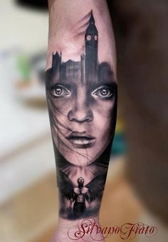 really cool tattoo! havent seen anything quite like it before and find it to be very unique. kinf of reminds me of a book cover or some thing.