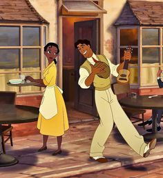 *TIANA & PRINCE NAVEEN ~ The Princess and the Frog, smoothed her apron and the skirt of her yellow shirt-waist dress before going outside Disney Pixar, Tiana Disney, Disney And Dreamworks, Disney Cartoons, Disney Magic, Disney Art, Disney Movies, Theme Animation, Disney Animation