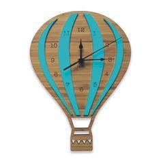 Reloj de pared de color de globo de aire caliente | Corte del laser vivero y…