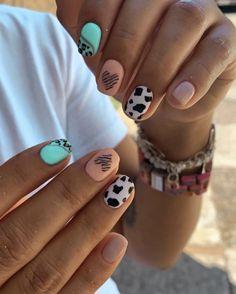 Shellac Nail Designs, Gel Manicure Nails, Glam Nails, Beauty Nails, Cow Nails, Nail Patterns, Neutral Nails, Cute Acrylic Nails, Stylish Nails