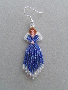 Angel Earrings in Blue Delica seed beads by DsBeadedCrochetedEtc