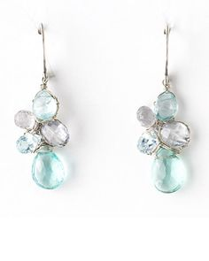 Clusters of various shapes and shades make for an interesting -- yet still simple -- pair of earrings