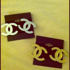 """Mirrored cc earrings Sold separately available in gold or silver 1 1/4"""" Jewelry Earrings"""