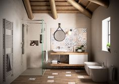 Baño con mezcla de estilos. Piso y revestimientos como protagonistas. #baño # revestimientos #madera #ducha