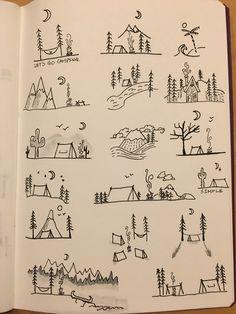 Camping Gekritzel - # A Lápiz De Tareas Creativa ? Simple Doodles, Cute Doodles, Bullet Journal Ideas Pages, Bullet Journal Inspiration, Doodle Drawings, Easy Drawings, Tattoo Drawings, Tattoo Sketches, Kritzelei Tattoo