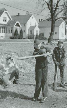 Sandlot baseball in Cedarburg, Wisconsin • photo: Harold C. Dobberpuhl (circa '40s/'50s)