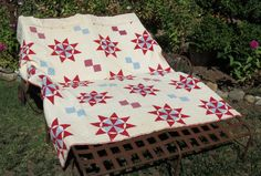 Nice Old Threadbare Quilt Red White and Blue by 13thStreetEmporium, $25.00
