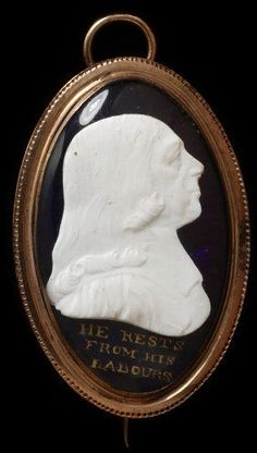 """This pendant brooch records the death of John Wesley ( 1703-1791 ) who founded the Methodist movement in the 1730s. It says""""He rests from his labours"""" and was made in 1791"""