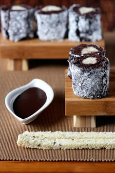tiramisushi w/ chocolate dipping sauce & strips of biscotti for chopsticks! this is FAB