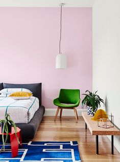 Using pops of bright colour with a classic white will give your home a modern, yet timeless look. Dulux colours: Titi Islands, Southern Alps   #Dulux #houseenvy #interiordesign #design #homedecor #style #inspiration #interiorstyling #homedecoration #duluxnz #paint #painting #bedroominspiration #pinkhues #pinkcolourscheme #bedroominspo
