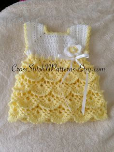 PATTERN TN005 - Crochet Baby Dress, Baby Dress pattern, Baby Green Dress…