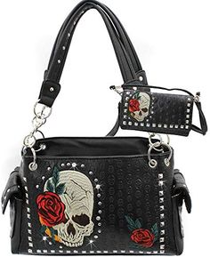 online shopping for Rhinestone Skull Rose Western concealed Carry Handbag Purse Wallet Set from top store. See new offer for Rhinestone Skull Rose Western concealed Carry Handbag Purse Wallet Set Quilted Handbags, Tote Handbags, Purses And Handbags, Leather Handbags, Concealed Carry Handbags, Skull Purse, Popular Handbags, Large Shoulder Bags, Vintage Handbags