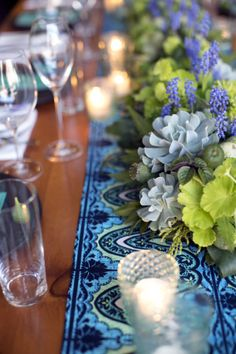 Turquoise and Green Table Decor Ideas | photography by http://www.firstcomeslovephoto.com | floral design by http://passionflowerevents.com/