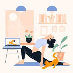 Yoga Illustration, Graphic Design Illustration, Yoga Drawing, Online Yoga Classes, International Yoga Day, Online Drawing, Yoga Art, Free Graphics, Tumblr Wallpaper