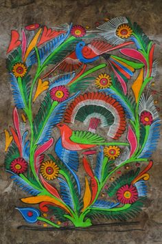 Amate Bark Paintings one of the many Folk Arts of the Latin American Culture. Mexican Artwork, Mexican Folk Art, Multicultural Activities, Paradise Pictures, Hispanic Art, Mexican Pattern, Latino Art, Mexican Embroidery, Bird Illustration