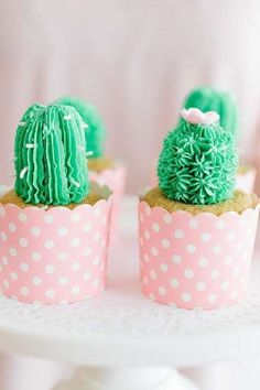 Take a look at this cute llama-themed Valentine's Day party! The cactus cupcakes are wonderful! See more party ideas and share yours at CatchMyParty.com   #catchmyparty #partyideas #valentinesday #valentinesdayparty #cactus #cactuscupcakes