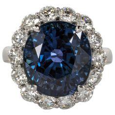Rare Natural No Heat GIA Certified 13 Carat Cushion Sapphire Diamond Ring | 1stdibs.com