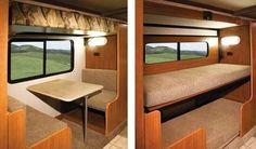 Bunk beds on motorhome dinette Kombi Motorhome, Truck Camper, Camper Trailers, Campervan, Travel Trailers, Trailer Tent, Mercedes Vario, Camper Bunk Beds, Bunkhouse Camper