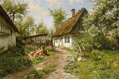 Peder Mønsted - Spring in a Danish Farm Garden 1915 Watercolor Landscape, Landscape Paintings, Amsterdam Art, Forest Cabin, Knight Art, Cottage Art, Painting Gallery, Vintage Farm, Fall Pictures