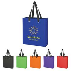 """The custom branded Carry On Tote Bag is made of 80 Gram Non-Woven, Coated Water-Resistant Polypropylene, has edgy bold silver grommet accents and 21"""" handles"""