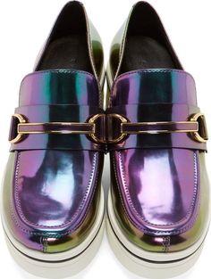 Stella Mccartney: Purple & Green Iridescent Binx Loafers