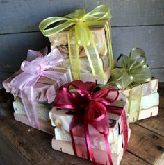 Bundles of handmade soap with soap dish