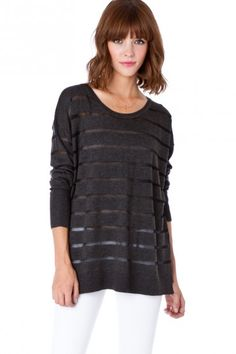 $48.00 See Through Striped Sweater in Grey