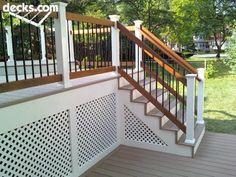 Pretty white lattice skirting on deck