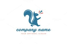 For sale. Only $29 - animal, simple, blue, fun, sound, happy, tail, cheerful, squirrel, support, voice, joyful, rodent, cheer, walk, whistle, hilarious, encouraging, clapping, gnawer, music, dance, noise, song, sing, logo, design, template,