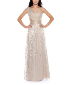 Gold Asymmetrical Silk-Blend Dress - Women | Daily deals for moms, babies and kids