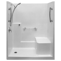 A One Piece Low Threshold Shower with Molded Seat ships pre-assembled with one seamless smooth surface. It has durable walls and a molded seat for comfort.