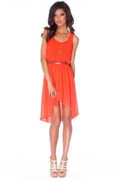 No Going Back Hi-Low Dress in Orange Flame