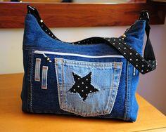 sac bandoulière étoiles en jean's et coton : Sacs bandoulière par com3pom