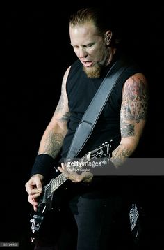 James Hetfield, rhythm guitarist and vocalist of American heavy metal band Metallica performs on stage during a concert in Berlin to launch the new Death Magnetic album of the band on September 12, 2008 in Berlin, Germany.
