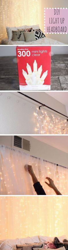 Schlafzimmer Deko aus Lichterkette und weißem Vorhang