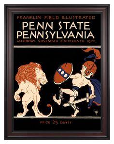 1922 Penn Quakers vs Penn State Nittany Lions 36x48 Framed Canvas Historic Football Poster