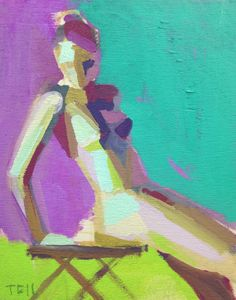 """""""Lean Back XII"""" This is an acrylic painting on birch wood panel."""