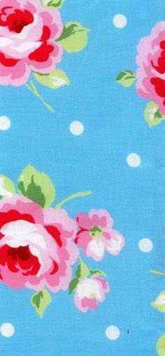 Flower Sugar Fall 2012 Fabric Collection Beautiful Pink Roses and White Polka Dots on Aqua Blue