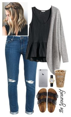 """be yourself //"" by kahemus on Polyvore featuring Paige Denim, H&M, Birkenstock and Cartier"