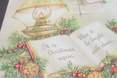 Vintage Unused Mid Century Glitter Xmas Greeting Card Holiday Book by Window…