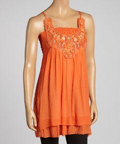 Look at this #zulilyfind! Orange Beaded Sleeveless Tunic by SR Fashions #zulilyfinds