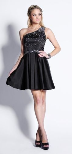 Cute Little One One Shoulder Black Party Dress Sequin Beads Short