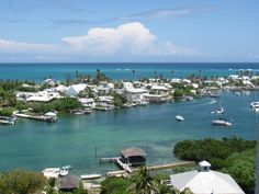 View from lighthouse of island - Hope Town, Elbow Cay, Bahamas. Paradise!