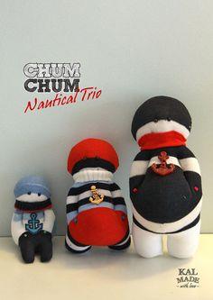 Sock Doll CHUM CHUM Nautical Trio by Memoriker on Etsy